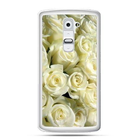 Etui na telefon LG G2 białe róże
