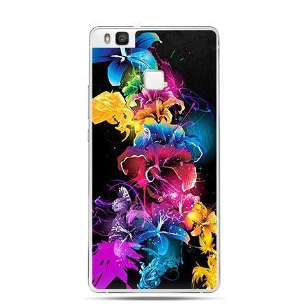Etui na Huawei P9 Lite kolorowe ciemne kwiaty.
