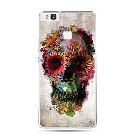 Etui na Huawei P9 Lite czaszka z kolorowych kwiatów.