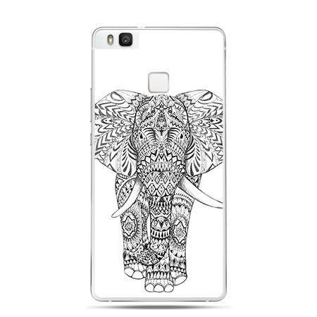 Etui na Huawei P9 Lite czarno biały słoń.