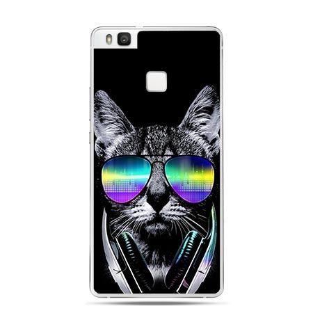 Etui na Huawei P9 Lite kot w tęczowych okularach.
