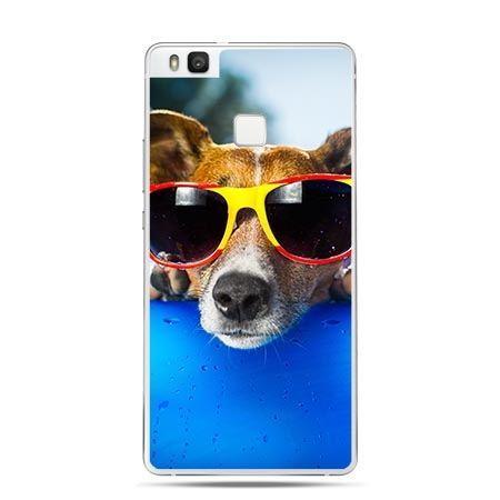 Etui na Huawei P9 Lite pies w okularach.