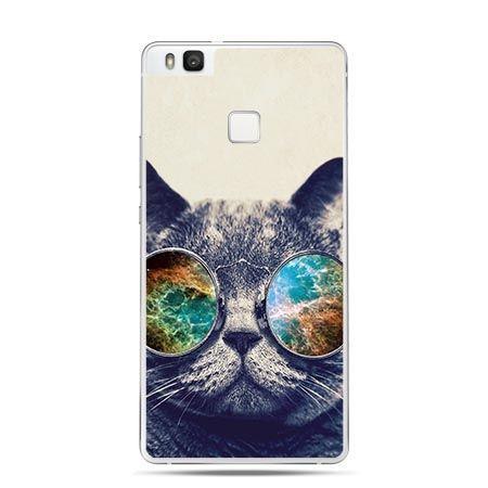 Etui na Huawei P9 Lite kot w okularach galaktyka.