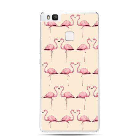 Etui na Huawei P9 Lite różowe flamingi.