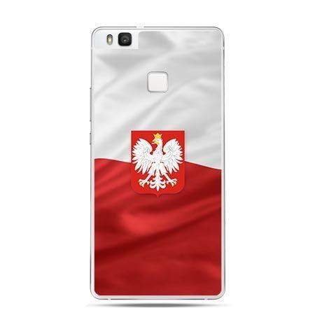 Etui na telefon Huawei P9 Lite patriotyczne - flaga Polski z godłem