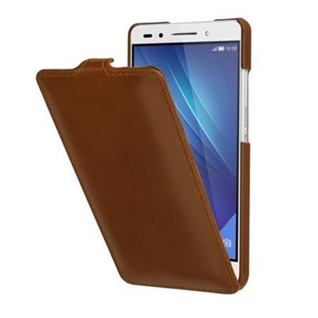 Etui na Huawei Honor 7 Stilgut SlimCase skórzane z klapką brązowe.