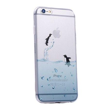 iPhone SE ultra slim silikonowe przezroczyste etui pingwiny.