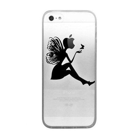 iPhone SE ultra slim silikonowe przezroczyste etui kobieta motyl.