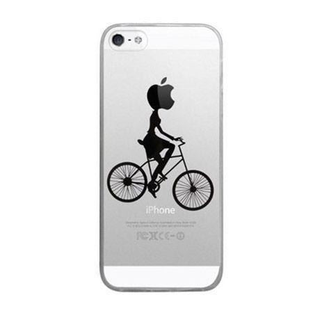 iPhone SE ultra slim silikonowe przezroczyste etui kobieta na rowerze.