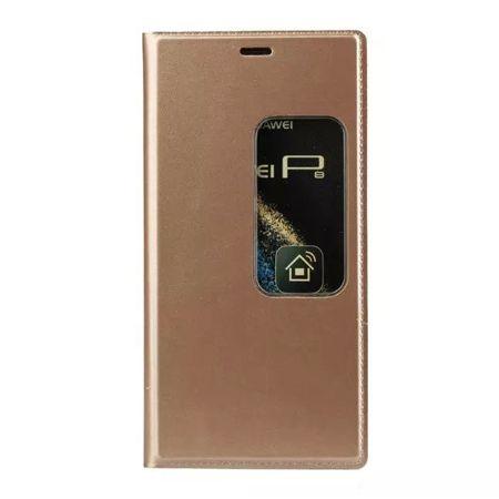 Etui na Huawei P9 Flip S View z klapką - złote.