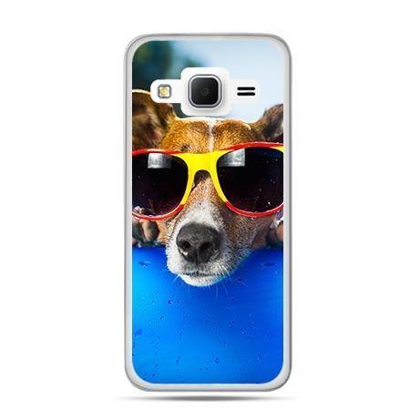 Etui na Galaxy J3 (2016r) pies w kolorowych okularach