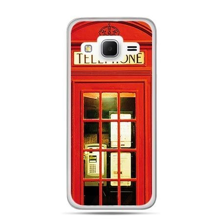 Etui na Galaxy J3 (2016r) czerwona budka telefoniczna