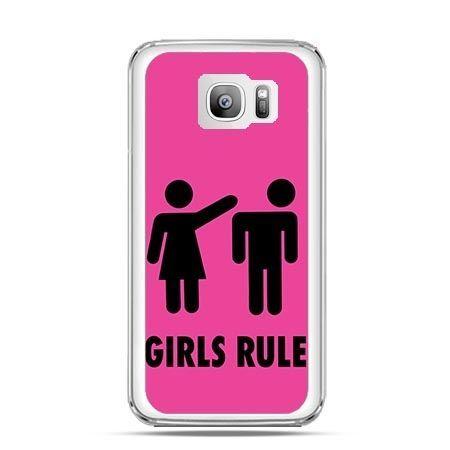Etui na telefon Galaxy S7 Edge różowe Girls Rule