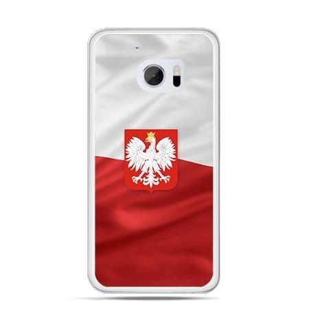 Etui na telefon HTC 10 patriotyczne - flaga Polski z godłem