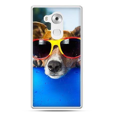 Etui na telefon Huawei Mate 8 pies w kolorowych okularach