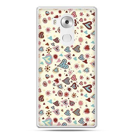 Etui na telefon Huawei Mate 8 kolorowe serca