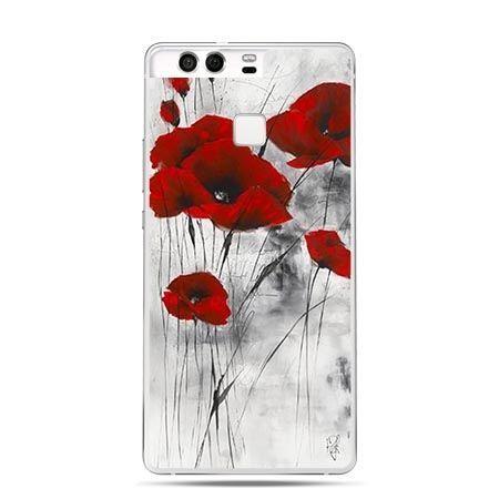 Etui na telefon Huawei P9 czewrwone maki