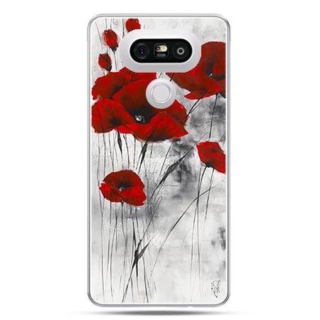 Etui na telefon LG G5 czewrwone maki