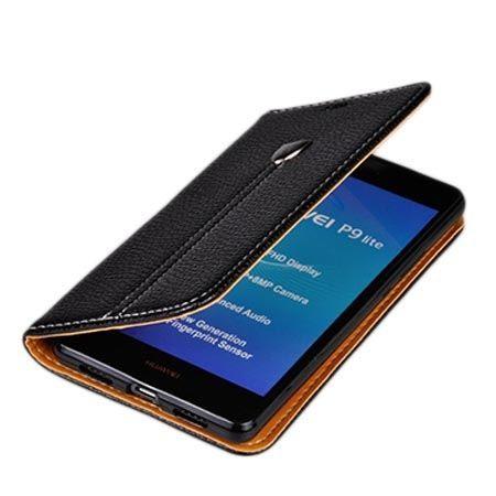 Etui na Huawei P9 Lite portfel z klapką na karty kredytowe - czarne.