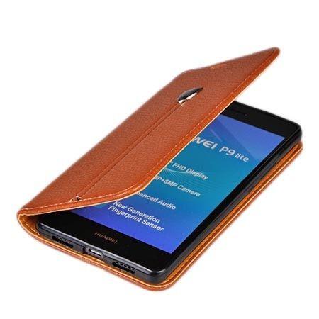 Etui na Huawei P9 Lite portfel z klapką na karty kredytowe - brązowe.
