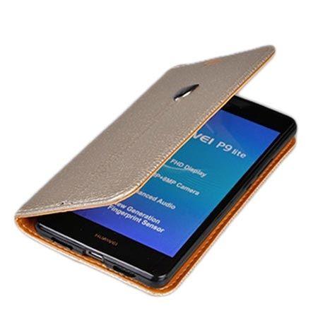 Etui na Huawei P9 Lite portfel z klapką na karty kredytowe - złote.