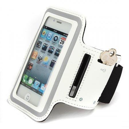 Uniwersalne etui na ramie do biegania na telefon - białe.
