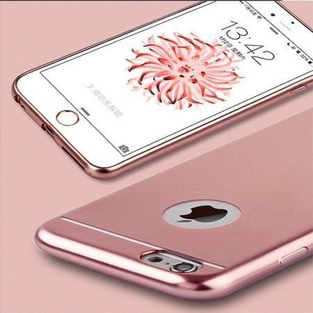Etui na iPhone 6 / 6s silikonowe platynowane Full - miedziane, różowe.