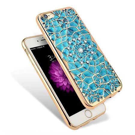 Etui na iPhone 6 / 6s silikonowe platynowane rozeta - niebieskie.