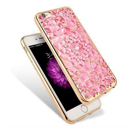 Etui na iPhone 6 / 6s silikonowe platynowane rozeta - różowe.