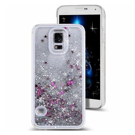 Etui na Galaxy S5 z ruchomym płynem w środku brokat - srebrne.