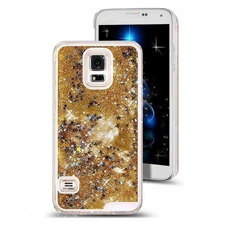 Etui na Galaxy S5 z ruchomym płynem w środku brokat - złote.