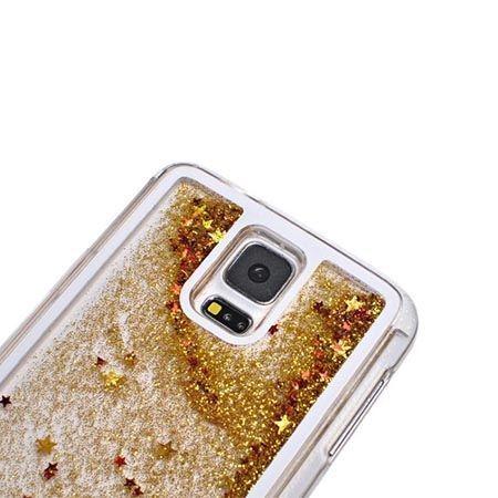 Etui na Galaxy S5 Neo z ruchomym płynem w środku brokat - złote.