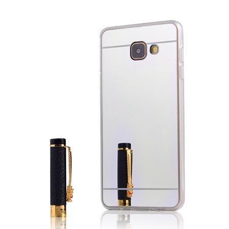 Etui na Galaxy A5 (2016) mirror - lustro silikonowe TPU - srebrne.