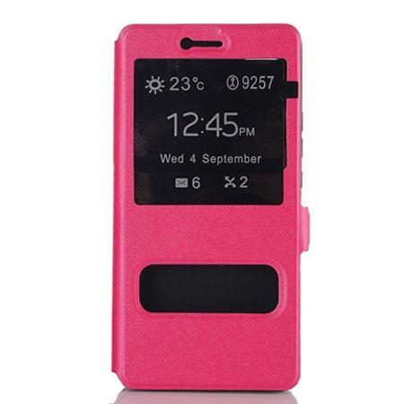 Huawei P9 Lite etui Flip Quick View z klapką dwa okienka - różowe.