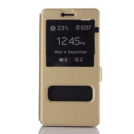 Huawei P9 Lite etui Flip Quick View z klapką dwa okienka - Złote.