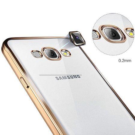 Galaxy J3 2016r przezroczyste silikonowe etui platynowane SLIM - srebrny.