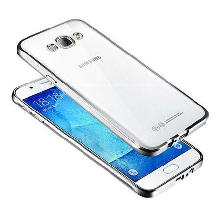 Galaxy J7 2016r przezroczyste silikonowe etui platynowane SLIM - srebrny.