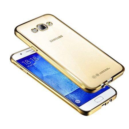 Galaxy J7 2016r przezroczyste silikonowe etui platynowane SLIM - złoty.