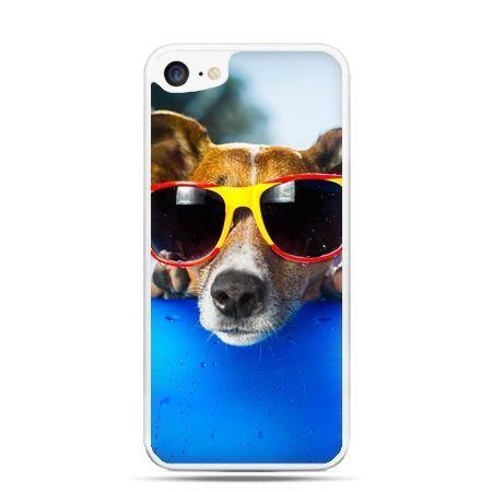 Etui na telefon iPhone 7 - pies w kolorowych okularach