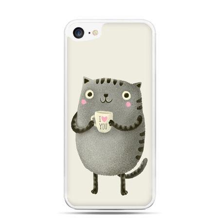 Etui na telefon iPhone 7 - kotek z kubkiem I Love You
