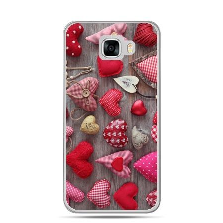 Etui na telefon Samsung Galaxy C7 - pluszowe serduszka