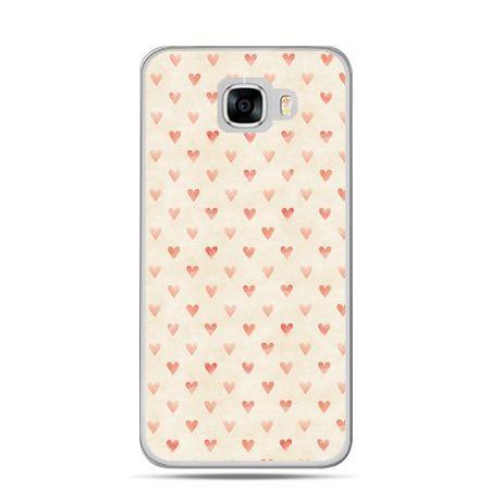 Etui na telefon Samsung Galaxy C7 - czerwone serduszka