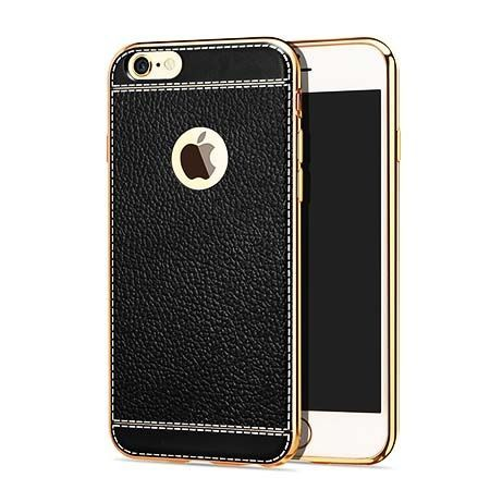 Etui na iPhone 6 / 6s silikonowe platynowane TPU Slim skóra - czarne.