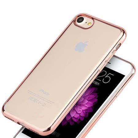 Etui na iPhone 7 silikonowe platynowane SLIM kolor - Rose Gold - różowy.