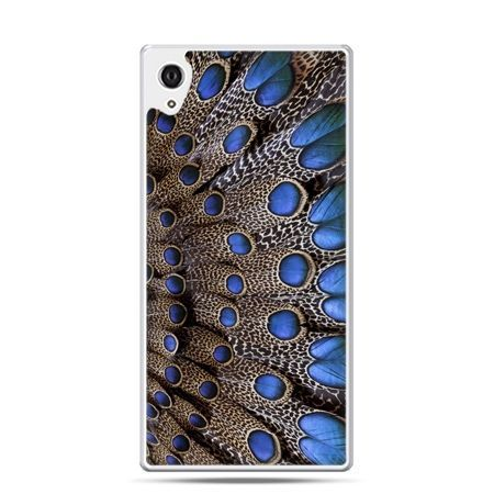 Etui na telefon Sony Xperia XA - niebieskie pióra