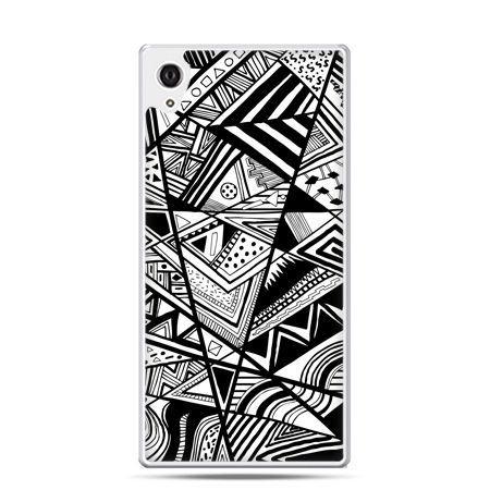 Etui na telefon Sony Xperia XA - czarno białe trójkąty