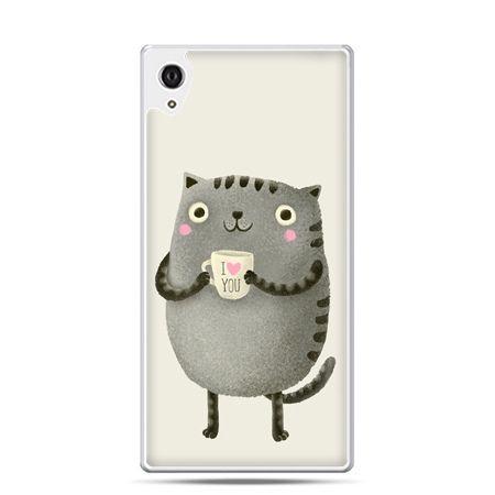 Etui na telefon Sony Xperia XA - kotek z kubkiem I Love You