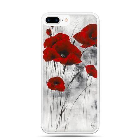 Etui na telefon iPhone 7 Plus - czewrwone maki