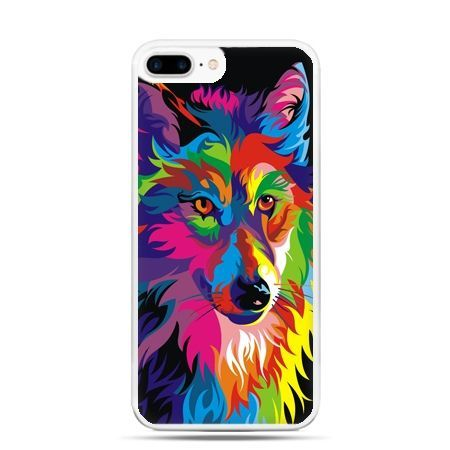Etui na telefon iPhone 7 Plus - neonowy wilk