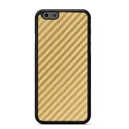 Etui na iPhone 6 / 6s gumowe Karbon - złote.